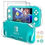 Hestia Goods - Funda protectora transparente para Nintendo Switch LIte, con 2 interruptores y 6 protectores de pantalla para pulgares, funda de agarre con absorción de golpes y antiarañazos, HD Clear