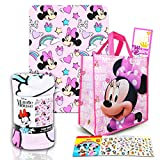 Disney Minnie Mouse Fleece Throw Blanket and Tote Bundle - Minnie Mouse Kids and Teens Blanket, Tote, 300 Stickers, and More for Boys & Girls (Size 45' x 60')