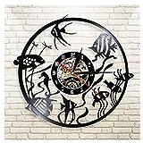 Vinilo Pared Reloj Peces de Colores de Acuario Disco Retro un Reloj de Pared Grande con un Tema Regalo Creativo del Reloj de Pared Hecha a Mano 12 Pulgada(Sin Luces)