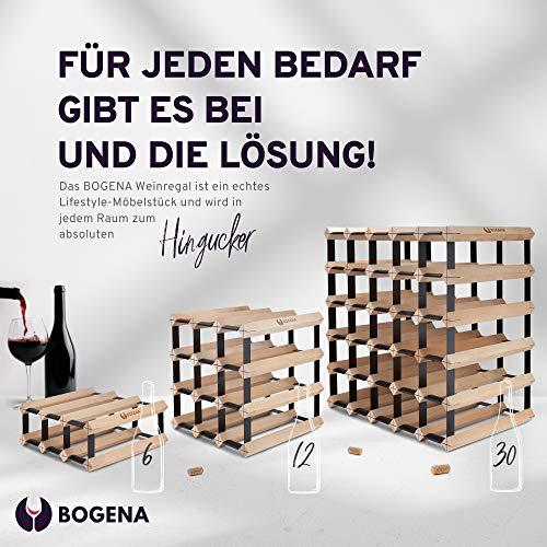 BOGENA® aus Holz - im einzigartigen Design - in 3 Varianten erhältlich - stabil, langlebig & modern - Elegantes Flaschenregal für Ihre heimische Weinsammlung (12 Flaschen) - 4