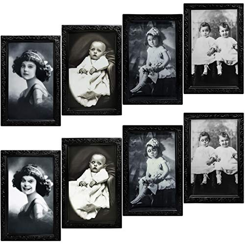 URATOT 4 Pack Halloween Decoration Haunted Photo with Frame Spooky Portrait Picture Frame Scary 3D Changing Face House Wall Decoration for Halloween, Home, Party
