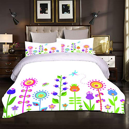 OJYUXD King Duvet Cover Set. 3 Pieces Easy Care And Super Soft Microfiber Design Cartoon Plant Flowers Pattern Quilt Covers. Size 200X200 Cm + 2 Matching Pillowcase.