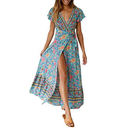 Ansenesna Kleid Vokuhila Boho Lang Mit Schlitz Und Schnürung Damen Blumen Elegant Sommerkleider Frauen V Ausschnitt Flatterndem Vintage Strandkleid