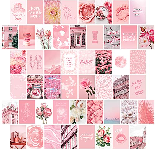 Artivo Pink Wall Collage Kit Aesthetic Pictures 50 Set 4x6, Pretty Light Pink Wall Decor for Teen Girls and Kids, Cute Bedroom Decor, College Dorm Decor…