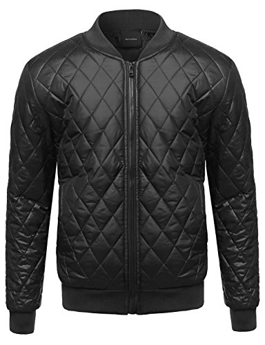 Classic Lightweight Quilted Padded Bomber Jacket Black 2XL