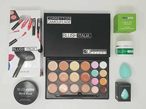 blush italia Kit de maquillage en cuir parfait crème visage correcteurs noir mask Blender