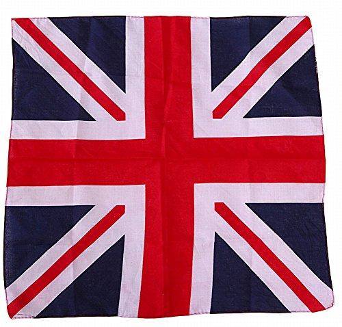 ganesha Printed Bandana Headband Scarf Patriotic Head Wrap for Men and Women (Union Jack), Measures  55.88cm X 55.88cm/ 22' x 22'