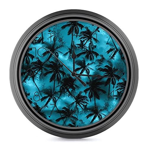 DYCBNESS Reloj de Pared,Camisa de Palmera Patrón Tropical Siluetas Negras Hojas de Palmera en un Cielo Azul Decorativos Silencioso Reloj de No-Ticking Funciona con Pilas,para decoración del hogar