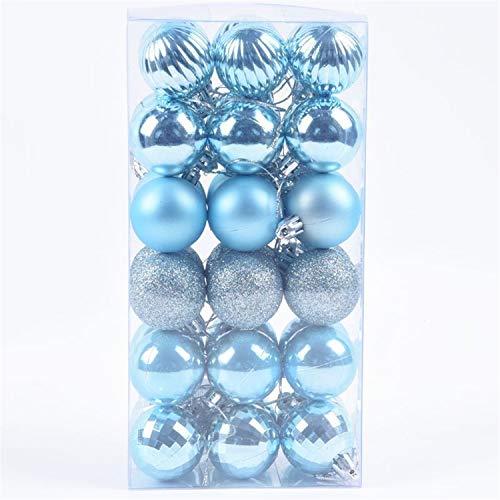 Amyseller, 36 palline di Natale azzurre – 4 cm infrangibili decorazioni per albero di Natale da appendere per feste di nozze, decorazioni per feste