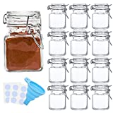 Spice Jars, SPANLA 12 Pack 4oz Small Glass Jars with Airtight Hinged Lid, With 12 Spice Labels & Silicone Funnels, Airtight Glass Jars for Spices, Art Craft Storage (12 Pack)