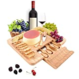 PURENJOY Cheese Board and Knife Set, 100% Bamboo Charcuterie Board & Serving Platter for Wine,...