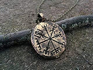 Handcrafted Viking Compass Vegvisir Guiding Pendant Necklace Norse Jewelry Amulet