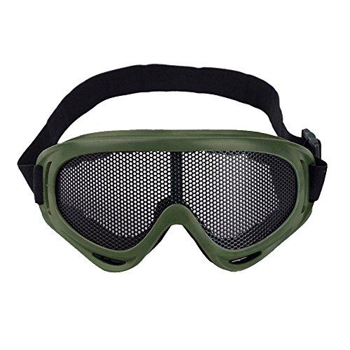 Sijueam Airsoft Metallgitter Schutzbrille Brille Anti Fog Paintball für Outdoor Sport Radfahren Grün