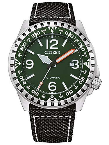 Citizen NJ2198-16X - Reloj mecánico para hombre, piel, 10 bar, analógico, fecha, color negro
