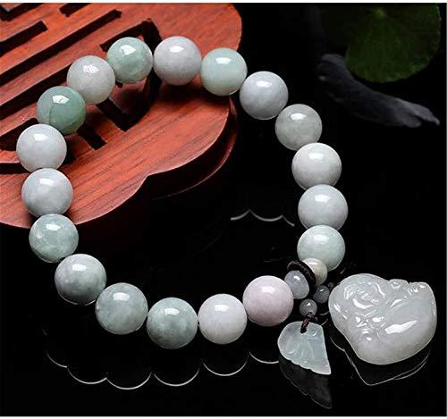 Feng shui riqueza pulsera jade bangle jadeite estiramiento pulsera con budismo colgante jade pulsera, perlas de Buda natural atraen buena suerte dinero afortunado encantos regalo para mujeres / hombre