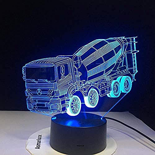 3D Illusions 7 Colors Changing Night Light 3D Led Blender Car Table Desk Lamp Children S Bedside Sleep Mixer Truck Lightings Xmas Gifts Decor