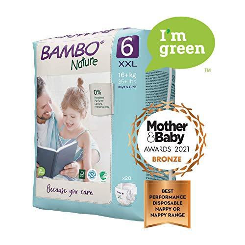 Bambo Nature Size 6 Premium Eco Nappies (34+ lb/16+ kg) Pack of 20