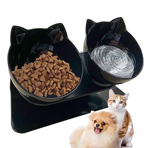 Futternapf Katzen, Doppelte Katzennäpfe mit Erhöhter Ständer, 15° Geneigte Plattform Haustier Fressnapf Futter und Wasser napf im Set, Doppelnapf Reduzieren Sie Nacken Schmerzen für Katzen und Hunde