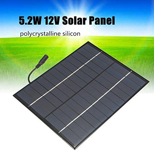 TOOGOO 12V 5.2W Mini panel solar Celulas solares policristalinas de silicio Sistema de Modulo de bricolaje de Epoxi Solar Cargador de bateria + salida de CC