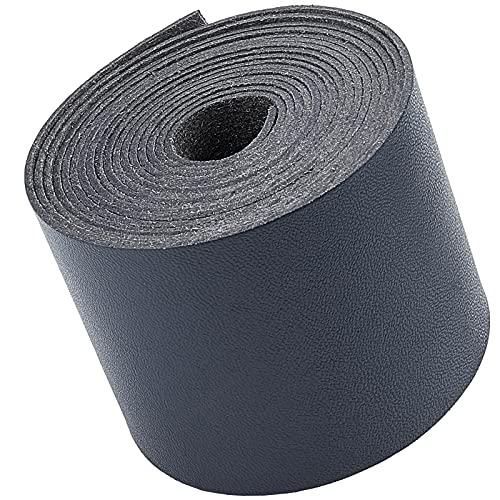 GORGECRAFT Tiras de Correas de Cuero de 2 Pulgada de Ancho Cordón Plano para Bricolaje Correa de Cuero de 78 Pulgadas de Largo para Hacer Correa de Bolso Cinturón de Cuero Asas de Muebles Negr