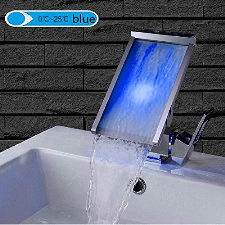 Kreative LED Wasserfall Toilette Wasserhahn Kupfer Hot and Cold Einlochmontage Waschbecken Zhler Becken Wasserhahn Groen Wasserfall (Farbe   -, Gre   -)
