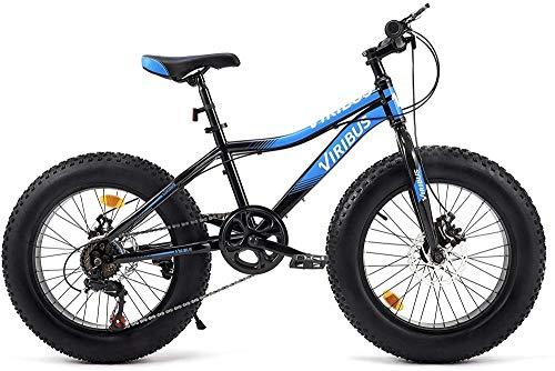 SYCY Bicicleta de montaña de 7 velocidades, neumático Grueso de 20 Pulgadas, para Suciedad, Arena, Nieve, Marco de Acero, Frenos de Disco Dobles, Asiento Ajustable