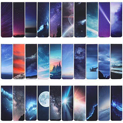 VETPW 30 Piezas Cielo Estrellado Marcadores de Libro Magnéticos, Magnetic Bookmarks Set, Aurora Luna Marcapáginas Clip de Página para Estudiantes Oficina Suministros de lectura, 30 Diseños