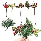 Ramas de Baya de Pino Palillos de Flor Pino de Acebo Bayas Falsas Piñas Artificiales de Guirnalda Ramas Arreglo de árbol de Navidad Ramas Decorativas y Flores para Guirnalda Tallos Flexibles(7 Piezas)