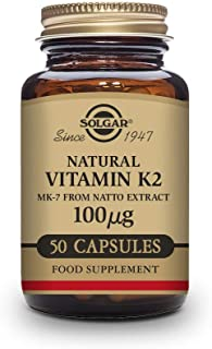 Solgar Vitamin K2 (MK-7) 100mcg, 50 Vegetable Capsules - Supports Bone Health - Natural Whole Food Source from Natto Extra...