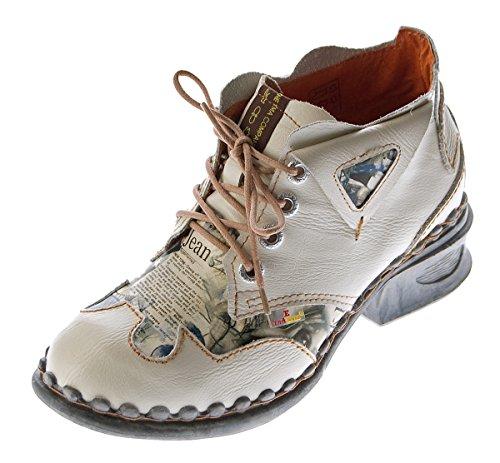 TMA Damen Leder Comfort Knöchel Schuhe 5155 Halb Schuhe Weiß Blockabsatz Boots Gr. 39