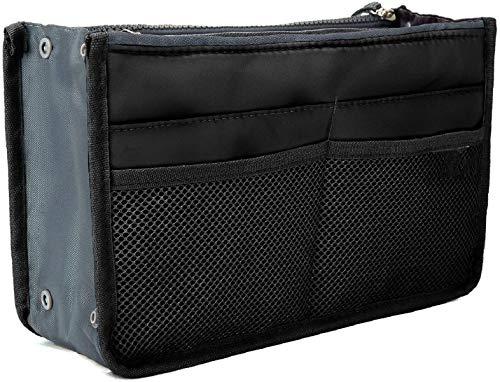 Ducomi Handtaschen-Organiser Geldbeutel-Einsatz 13 Fächer - Ideal für Dokumente, Telefon, Make-up, Schlüssel an Ihren Fingerspitzen (Standard, Black)