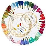 Kit de Inicio de Bordado, GuKKK Hilos de Bordar, 102 Pcs Kit de Bordado, 50 Hilos de Color, 5 Piezas...