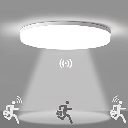 Oeegoo 18W Luz de Techo LED con Sensor de Movimiento (ajustable), 1800LM Lámpara de Sensor a prueba de agua IP44, Plafon LED para Garaje, Sótanos, Pasillo, Entrada, Baño Blanco Natural 4000K, Ø28cm