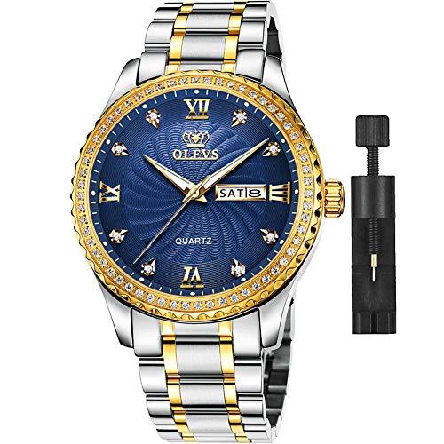OLEVS - Reloj de pulsera para hombre, acero inoxidable, resistente al agua, de dos tonos, reloj de pulsera de buceo de lujo clásico para hombre, esfera dorada, color blanco, azul y verde