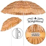 Deuba Sombrilla de Playa jardín Exterior Ø 160 cm Hawaii Color Natural con función de inclinación Parasol reclinable