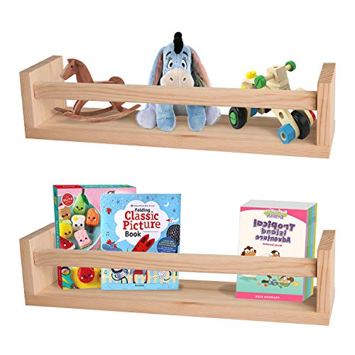 Nursery Shelves,Set of 2 Natural Wood Floating Wall Bookshelves for Kids,Nursery Book Shelves for...