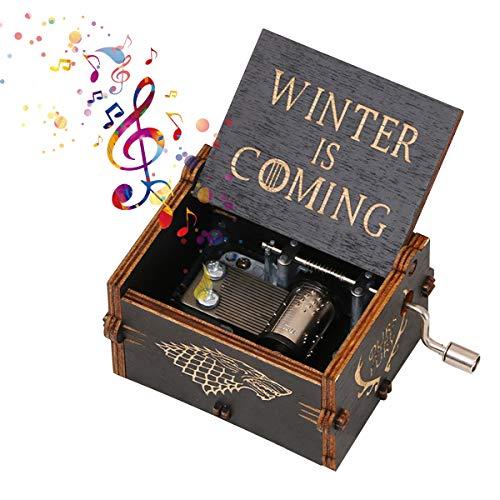 LianTao Caja de música de madera con manivela tallada antigua, caja de música clásica, regalo para niños, novia, esposa, Navidad, San Valentín, manualidades, regalo de aniversario (juego de tronos)