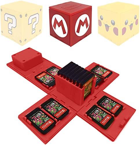 Nintendo Switch - Funda para tarjeta de memoria con 16 ranuras para tarjetas de juego (rojo), color rojo