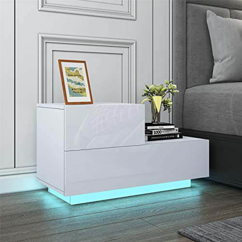 UNDRANDED Modern Bedside Table High Gloss Front Chest of 2 Drawers Push-to-Open Nightstand Unit with RGB LED Light 70x35x38cm (White)
