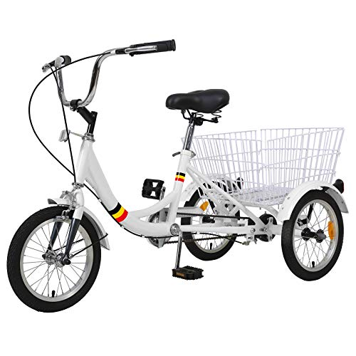MOPHOTO - Bicicletta a 3 ruote regolabile a velocità singola 14' per principianti ciclisti adolescenti con cestino grande, bianco