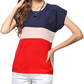 Domple Women's Tee Color Blocked Short Sleeve Summer T-Shirt Chiffon Blouse Shirt Top