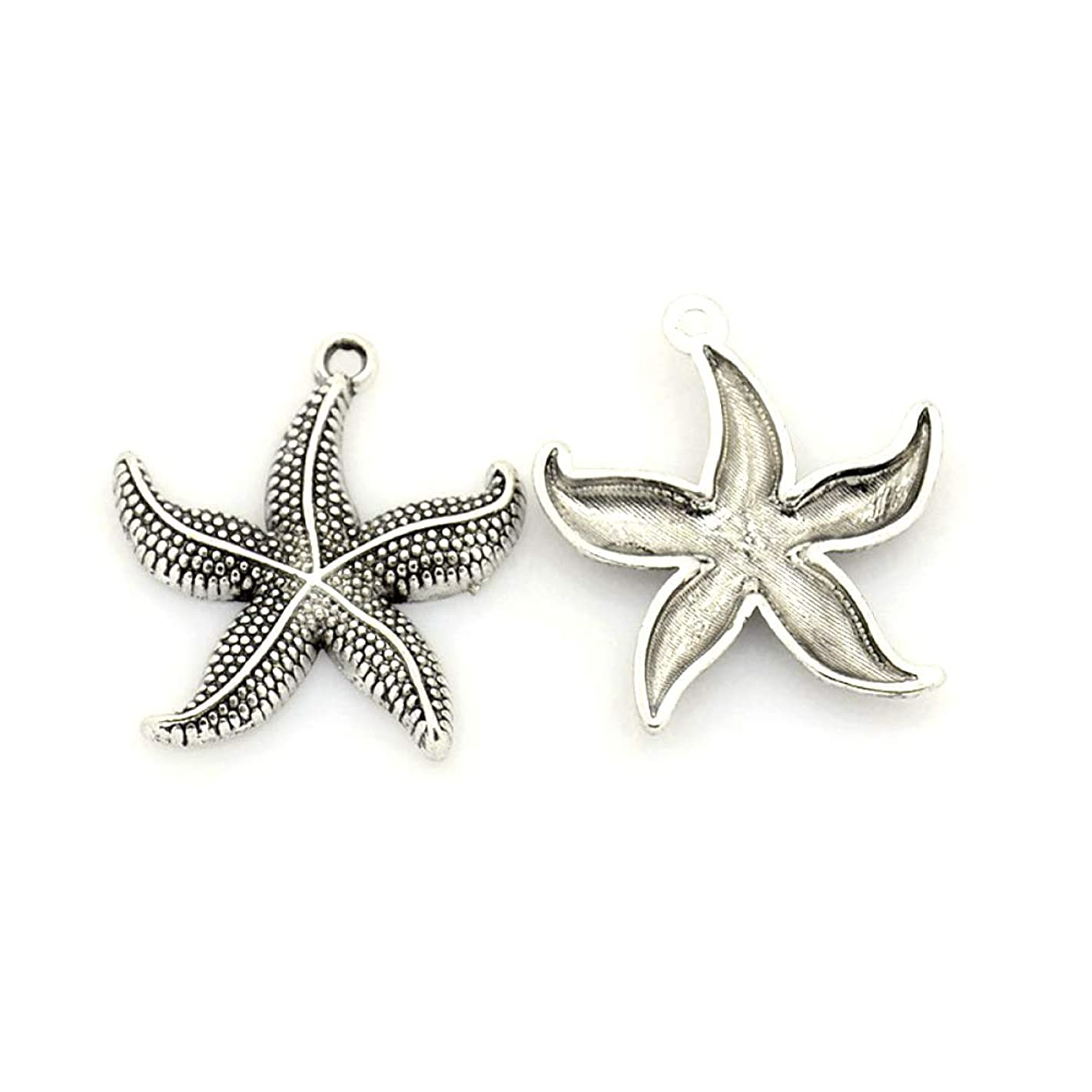 Craftdady 100PCS Tibetan Style Antique Silver Starfish Alloy Pendants Charms Jewelry Making Accessory, 26x23.5x3mm