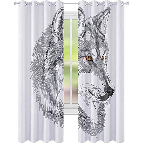 Cortinas térmicas aisladas, hechas a mano, retrato de lobo siberiano, diseño de...