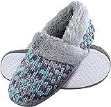 DUNLOP - Mujer Invierno Calientes Suaves Peluche Pantuflas Zapatillas por Casa (39 EU, 8029 Grey)