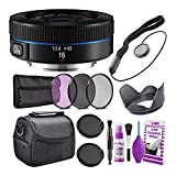 Samsung 16mm f/2.4 Ultra Wide Pancake Lens (Black) for NX Mount Cameras (EX-W16ANB) Deluxe Bundle with Padded Camera Case + 3PC Filter Kit UV/CPL/F + Lens Cap Keeper + Cleaning Kit + More