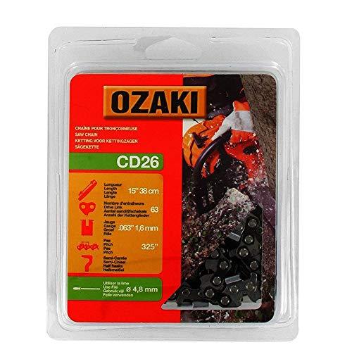 Ozaki - Cadena de motosierra, semicuadrada, carcasa de 3,6 mm – 63 entrenadores – Longitud: 38 cm