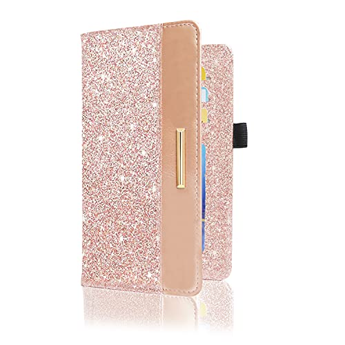 DMLuna Checkbook Cover with RFID Blocking Function, Premium Leather Check book Holder Wallet for Men and Women, Glitter Rose Gold