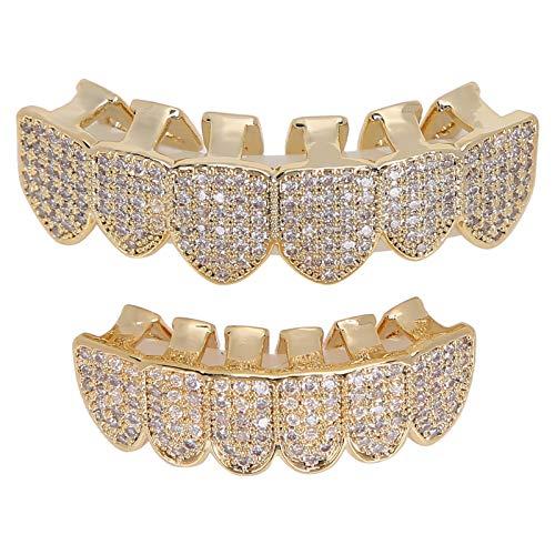 Grillz Zahnspange, Grillz Zähne, Hip Hop Teeth Grill Set Microset Diamond Braces, Hip Hop Zähne Dekoration Kaltbeschichtetes Kupfer Grillz Zähne Set Bling Grillz Zähne Dekoration für Party(gold)