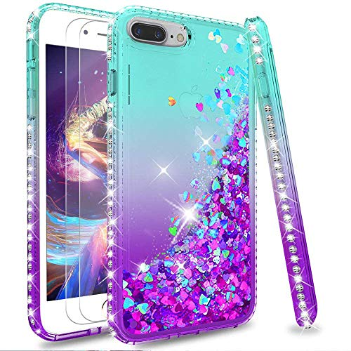 LeYi Custodia iPhone 7 Plus/iPhone 8 Plus Glitter Cover con Vetro Temperato [2 Pack],Brillantini Diamond Sabbie Mobili Bumper Case Custodie per Apple iPhone 7 Plus Donna ZX Turquoise Purple Gradient