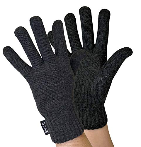 THMO - Herren Outdoor Strick Thermo Winter Handschuhe mit 40g 3M Thinsulate Insulation Warm Gefüttert (M/L, Charcoal)